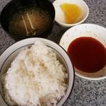 レストランかねひろ - セットのライス(中)/みそ汁