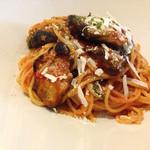 ラ クチーナ イタリアーナ ウエキ - ランチAコース[揚げナスのトマトソーススパゲティ](900円)