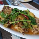ウルムチ フードアンドティー - トホ・コルダク     ウイグル風鶏肉と野菜の辛口炒め