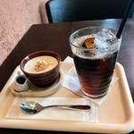 里山カフェ - 豆乳プリン、森のコーヒー