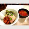 中華そば よしかわ - 料理写真:つめたい旨辛海老つけそば 炎のソフトシェルシュリンプ添え 限定麺A