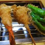 名代串揚げ松葉 コース制串かつ - 海老、うずらの卵、ししとう