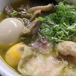 71495525 - やまがた地鶏の金の鶏中華・海老ワンタン・味玉