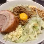 ラーメン 宮郎 - 「汁なしそば並盛」(800円)。ヤサイアブラ増し、ニンニク普通