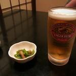 味楽 - お通しと生ビール