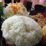 あさチャン - 2種ミックスちょい定食[だし巻き+豚肉の生姜焼き](600円)