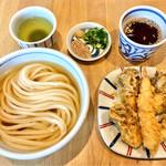 与喜饂飩 - ひやかけ&舞茸と海老の天ぷら
