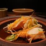 和食 えん - カレイの唐揚げ 黒酢餡かけアップ