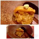 鮨 そえ島 - ◆宮城・ムラサキウニのリゾット・・粒が大きくこれも質の良い品。 それを惜しげもなく沢山シャリに混ぜられリゾット風にされた贅沢な品。 これも秀逸。
