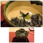 鮨 そえ島 - ◆海苔と梅の茶碗蒸し・・梅雄風味が強くなく海苔の風味を付よう感じました。 茶碗蒸し自体もいい味わい。