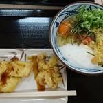 丸亀製麺 - 明太釜玉 並盛 カレイと鶏天