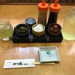 かつ福 - 定食の先付けセット。漬物、梅干、緑茶(茶瓶付き)、辛子、サラダドレッシング