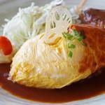 洋食屋桜亭 - オムライスとハンバーグのセット