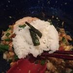 繁田 - まぜそば(900円)〆飯