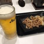 吉野家 - 料理写真:牛皿×生ビール(500円)