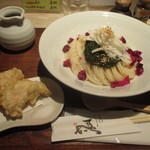 ひだりうま - ギバサと山芋のねばねばぶっかけ+鶏天