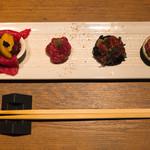 焼肉 うしみつ - うしみつ極みユッケと炙り寿司盛り合わせ