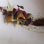ポンテ デル ピアット - 【前菜】鮎のソテー 燻製した枝豆とリコッタチーズソース