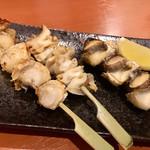 貝料理専門店 磯ばし - 串盛合せ ♪  左から ほたて・赤西貝・ツブ貝