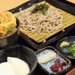 清修庵 - ミニ桜海老かき揚げ丼とざるそばセット