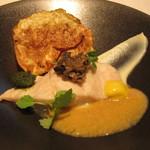 71628064 - 魚料理~高知県の金目鯛とセロリのピューレとチップ 香草のペースト、ブラックオリーブ、ニンニクの香りのする卵黄のソース、
