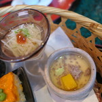 桂 - 竹籠膳 叩きオクラと長芋素麺、南京とそぼろの茶碗蒸し