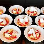 ザ・レストラン by アマン - 桃とラズベリーのムース@ピーチメルバの進化形。スライスアーモンドがアクセント