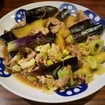 もつ焼 あぶさん - 茄子と豚肉のサッパリ炒め