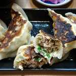 71650458 - 鉄板餃子酒場 いちゃん @ときわ台 ランチ ビック餃子定食の豚ひき肉中心の餡がたっぷり詰まった餃子