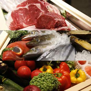 新鮮な食材を「炉端焼き・原始焼き・藁焼き」など様々な調理法で