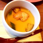 こまじろ - 淡路鱧とウニの冷製茶碗蒸し〜柚子の冷やしあんかけ
