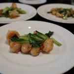 開化亭 - 料理写真:海老、小さい帆立青梗菜炒め