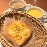 パネッテリア オークラ - コーンパラダイス、カボチャの冷製スープ、コーヒー