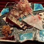 野口太郎 - 和歌山の鰹、長崎の石垣鯛の造り