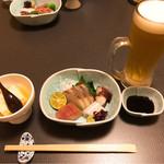 71674711 - おぼろどうふ&お造り&生ビール