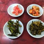 らーめん恵比寿 - 惣菜バイキングからとったもの(ニラ、キムチ、高菜、紅生姜)