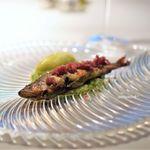 ポンテ ベッキオ - 鮎のコンフィの熱々と瓜科のマチェドニア メロンのソルベット添え
