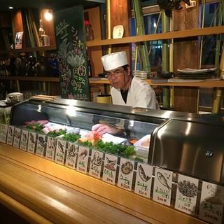 料理長が目の前で握るお寿司