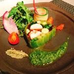 71693832 - オマール海老、帆立、野菜のテリーヌタプナードとラヴィゴットソース