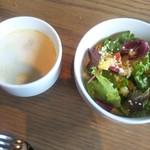 71694262 - Aセットのスープとサラダ