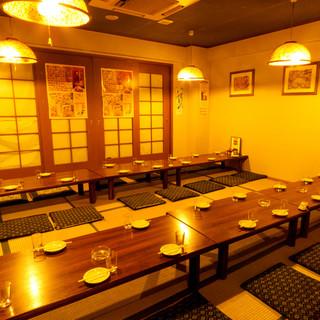 テーブル席の他にお座敷のお席も完備!20名様~貸し切りOK!