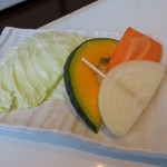 清香園 - お野菜はチシャか焼き野菜か選べます。