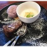 ヤサトデトレタ - カフェセット「八郷のワンプレートスイーツ」、アーモンドミルクプリン、自家製ガトーショコラ、手作りアイスの3種盛り