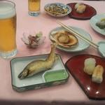 アルセ - 生ビール、鮎、帆立、寿司、刺身、あさり酒蒸し、焼鳥(2017.08.18)
