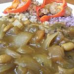 ナチュラルキッチン きらら - 島原ハーブ鶏のから揚げと車麩のカツのっけひよこ豆入りベジタブルカレーZOOM