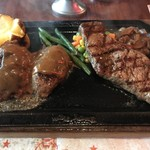 ハングリータイガー - 【2017.7.26】オリジナルハンバーグステーキ&リブロースステーキレギュラーセット¥3130