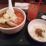 太陽のトマト麺withチーズ 新宿ミロード店 - 太陽の茄子ラーメン+セット