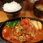 星さん家のハンバーグ - トマトとチーズの煮込みハンバーグ定食セット 1296円