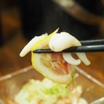 串ザンマイ - イカとベーコンの炒め物アップその2