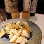 酒廊 而空 - 海老とマコモダケの緑茶炒め